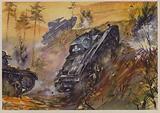 German tanks on the attack, World War II, 1940