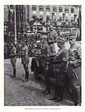 Hitler reviewing a march past; Nuremberg Rally, 1936