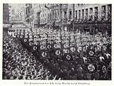 Standards of the SS marching through Nuremberg, 1936