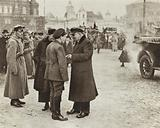 Lenin in Red Square chats with V M Zagorsky, Secretary of the Moscow Committee of the RCP(B), Moscow, 1 May 1919