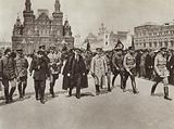 Lenin and a group of commanders review Universal Military Training (Vsevobuch) detachments in Red …