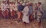 French prisoners wearing their new steel helmets, World War I, 1914–1916
