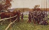 German cavalry preparing to go out on patrol, World War I, 1914-1916