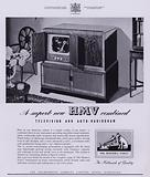 Advertisement for the HMV combined television and radiogram