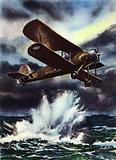 Fairey Swordfish sinking a U-boat in the North Sea