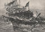 An American man of war destroying derelicts in the Atlantic
