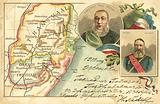 Map of Transvaal and Orange Free State and portraits of Boer leaders President Paul Kruger and General Piet Joubert