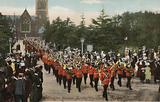British Army band marching along Wellington Avenue, Aldershot, Hampshire, on a Sunday morning