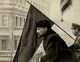 Lenin greets, from the balcony of the Moscow Soviet, Communist worker troops leaving to fight Denikin, Moscow, 16 …