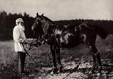 LN Tolstoi with his favourite horse Delir, Yasnaya Poliana, 1908