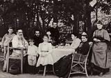 LN Tolstoi with his family at the tea-table in the park, Yasnaya Poliana, 1892