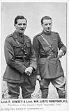 Lieutenants Frederick Sowrey and William Leefe Robinson, British fighter pilots of the First World War, who each shot …