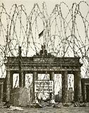 Barbed wire in front of the Brandenburg Gate, Berlin, Germany, during the Allied occupation of the city after World …