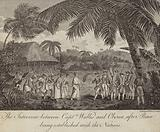 Tahitian Queen Oberea making peace with the British commanded by Captain Samuel Wallis, 1767