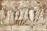 Part of a frieze on the Arch of Titus in Rome, showing Jewish prisoners carrying artefacts from Jerusalem
