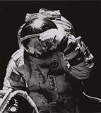 Pilot-Cosmonaut of the USSR Leonid Kizim, twice a Hero of the Soviet Union, performing a space walk