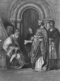 King Henry II of England presenting the papal bull of 1155 that allowed him to invade, govern and rule Ireland