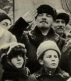 Russian Bolshevik revolutionary leader Lenin on Red Square, Moscow, during the celebrations of the second anniversary of the October Revolution, 1919