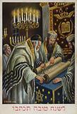 Jewish New Year greeting. A Rabbi reading Holy Scripture on Rosh Hashanah, 1929