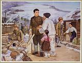 North Korean leader Kim Il-sung chopping wood while his partisan group sets up camp on the Tumen River, 1930s or 1940s