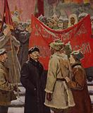 On Red Square. Bolshevik leader Vladimir Lenin talking to Red Guards on Red Square in Moscow during the October Revolution in 1917; 1961-1964
