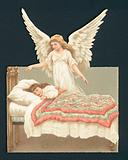 Angel overlooking girl asleep in bed, Victorian scrap
