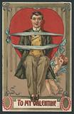 Valentine card, man tied up in ribbons by Cupid