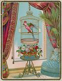 Parrot in cage in opulent Victorian interior