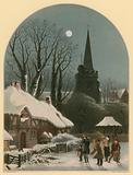 Victorian Christmas scene with band playing in the snow