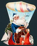 Santa Claus driving airship, Christmas Card