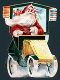 Santa Claus driving a car, Christmas Card