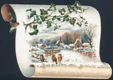 Snow scene with Robins and Church, Christmas Card