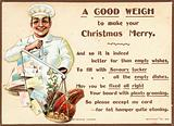 Chef weighing letters and food on scales, Christmas Card