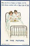 Couple drinking tea in bed, Card