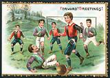 Football Match (Forward! Greetings!), Christmas Card.