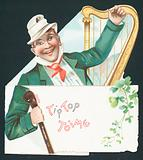 Irishman with Shalali and Harp, Card