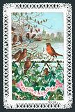 Robin singing on a branch, Christmas Card