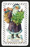 Santa Claus with Toy Sack and Tree, Christmas Card