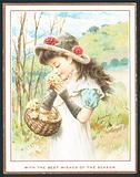 Girl smelling flowers from basket, Christmas Card
