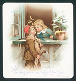 Stealing a kiss under the mistletoe, New Year Card