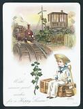 Sailor Boy waiting for train, Christmas Card