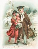 Romantic Couple and Steam Train, Christmas Card