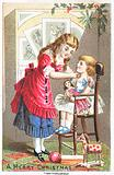Girl talking to young child in high chair, Christmas Card