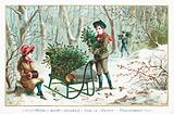 Collecting Holly in the woods, Christmas Card