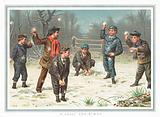 Boys having a snowball fight, Christmas Card