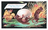 Mice, chick and egg, Christmas Card