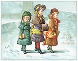 Girls walking in the snow, Christmas Card