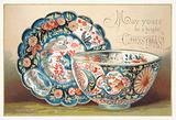 China Bowl and Plate, Christmas Card