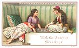 Arabic Ladies playing Board Game, Christmas Card