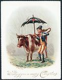 Leading Cow through the rain, Christmas Card